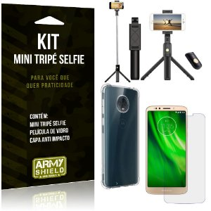 Kit Mini Tripé Selfie Moto G6 Play + Capa Anti + Película Vidro - Armyshield