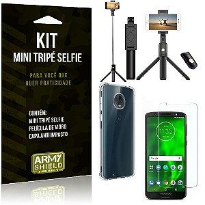 Kit Mini Tripé Selfie Moto G6 Plus + Capa Anti + Película Vidro - Armyshield