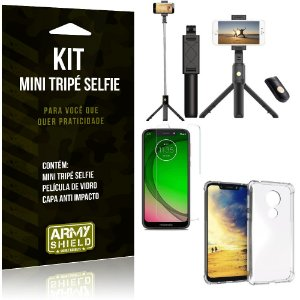 Kit Mini Tripé Selfie Moto G7 Play + Capa Anti + Película Vidro - Armyshield