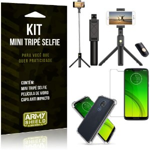 Kit Mini Tripé Selfie Moto G7 Power + Capa Anti + Película Vidro - Armyshield