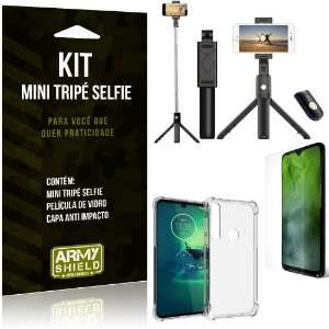 Kit Mini Tripé Selfie Moto G8 Play + Capa Anti + Película Vidro - Armyshield