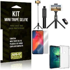 Kit Mini Tripé Selfie Moto G8 Plus + Capa Anti + Película Vidro - Armyshield