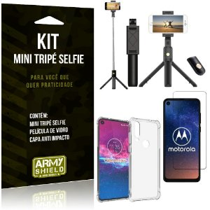 Kit Mini Tripé Selfie Moto One Action + Capa Anti + Película Vidro - Armyshield