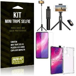 Kit Mini Tripé Selfie Moto One Hyper + Capa Anti + Película Vidro - Armyshield