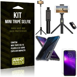 Kit Mini Tripé Selfie Moto One Macro + Capa Anti + Película Vidro - Armyshield