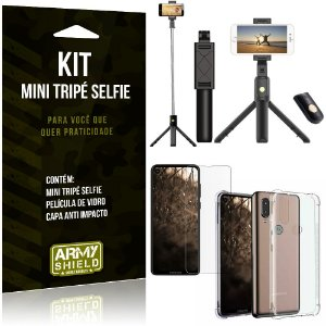 Kit Mini Tripé Selfie Moto One Vision + Capa Anti + Película Vidro - Armyshield