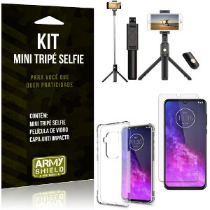 Kit Mini Tripé Selfie Moto One Zoom + Capa Anti + Película Vidro - Armyshield