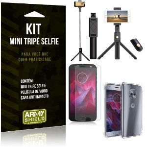 Kit Mini Tripé Selfie Moto X4 + Capa Anti + Película Vidro - Armyshield