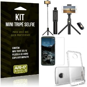 Kit Mini Tripé Selfie Moto Z3 Play + Capa Anti + Película Vidro - Armyshield