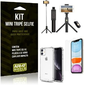 Kit Mini Tripé Selfie iPhone 11 6.1 + Capa Anti + Película Vidro - Armyshield