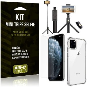 Kit Mini Tripé Selfie iPhone 11 Pro Max 6.5 + Capa Anti + Película Vidro - Armyshield
