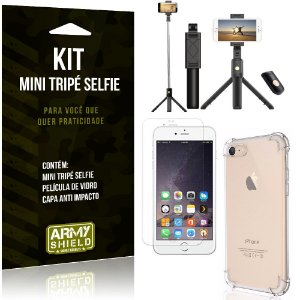 Kit Mini Tripé Selfie iPhone 6 - 6S + Capa Anti + Película Vidro - Armyshield