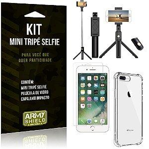 Kit Mini Tripé Selfie iPhone 8 Plus + Capa Anti + Película Vidro - Armyshield