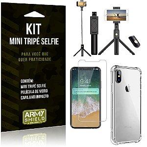 Kit Mini Tripé Selfie iPhone X + Capa Anti + Película Vidro - Armyshield