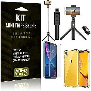 Kit Mini Tripé Selfie iPhone XR 6.1 + Capa Anti + Película Vidro - Armyshield