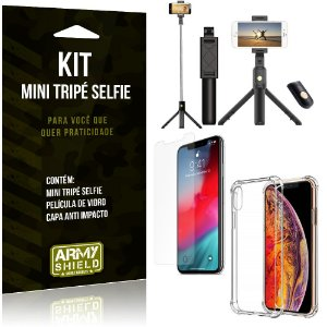 Kit Mini Tripé Selfie iPhone XS 5.8 + Capa Anti + Película Vidro - Armyshield