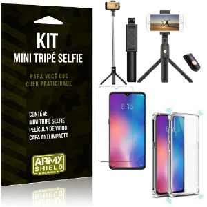 Kit Mini Tripé Selfie Mi 9 + Capa Anti + Película Vidro - Armyshield