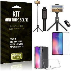 Kit Mini Tripé Selfie Mi 9 Lite + Capa Anti + Película Vidro - Armyshield