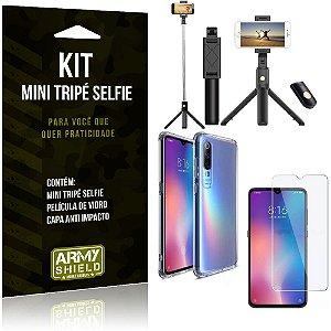 Kit Mini Tripé Selfie Mi 9 SE + Capa Anti + Película Vidro - Armyshield