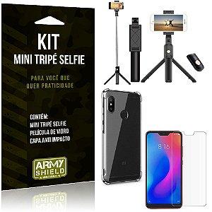 Kit Mini Tripé Selfie Mi A2 Lite (Redmi 6 Pro) + Capa Anti + Película Vidro - Armyshield