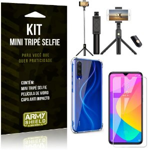 Kit Mini Tripé Selfie Mi A3 (CC9e) + Capa Anti + Película Vidro - Armyshield