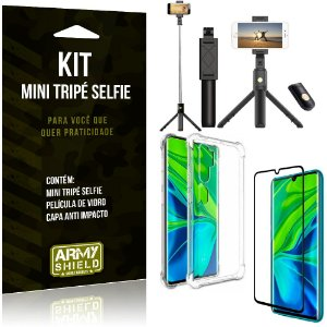 Kit Mini Tripé Selfie Mi Note 10 - Note 10 Pro + Capa Anti + Película Vidro - Armyshield
