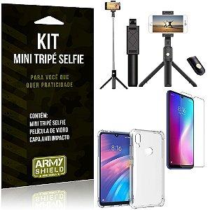 Kit Mini Tripé Selfie Redmi 7 + Capa Anti + Película Vidro - Armyshield
