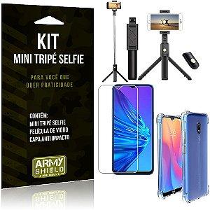 Kit Mini Tripé Selfie Redmi 8A + Capa Anti + Película Vidro - Armyshield
