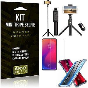 Kit Mini Tripé Selfie Redmi K20 Mi 9T + Capa Anti + Película Vidro - Armyshield