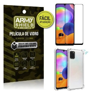 Película 3D Full Cover Fácil Aplicação Galaxy A31 + Capa antishock - Armyshield