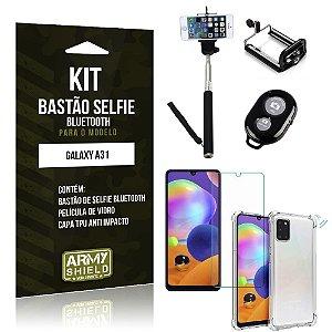 Bastão de Selfie Bluetooth Galaxy A31 + Capinha Anti Impacto +Película Vidro - Armyshield