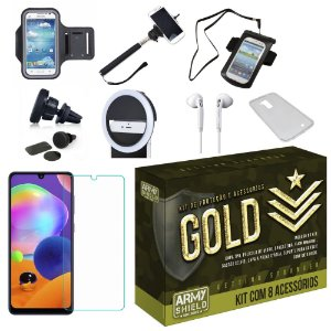 Kit Gold Samsung Galaxy A31 com 8 Acessórios - Armyshield