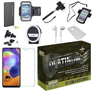 Kit Platinum Galaxy A31 com 9 Acessórios e PowerBank Tipo C - Armyshield
