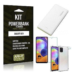 Carregador Portátil 10.000Mah Galaxy A31 + Capinha + Película Vidro - Armyshield