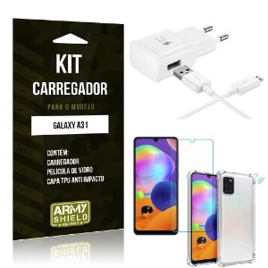 Kit Carregador Samsung Galaxy A31 Tipo C + Capa Antishock + Película de Vidro - ArmyShield