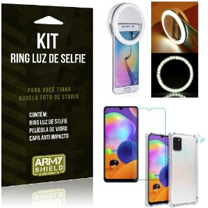 Kit Flash Ring Galaxy A31 Flash Ring + Capa Anti Impacto + Película de Vidro - Armyshield