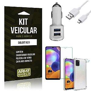 Kit Carregador Veicular Tipo C Galaxy A31 + Película Vidro + Capa Anti - Armyshield