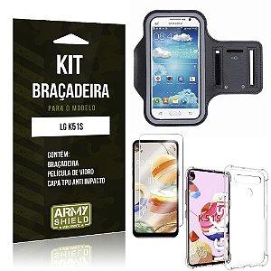 Braçadeira Sporte LG K51s + Capinha Anti Impacto + Película de Vidro - Armyshield