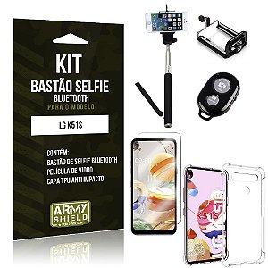 Bastão de Selfie Bluetooth LG K51s + Capinha Anti Impacto +Película Vidro - Armyshield