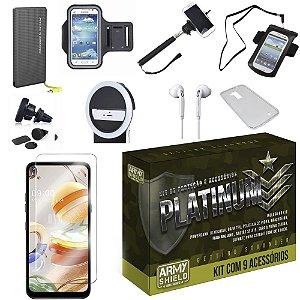 Kit Platinum LG K51s com 9 Acessórios e PowerBank Tipo C - Armyshield