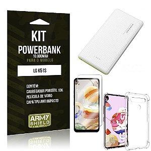 Carregador Portátil 10.000Mah LG K51s + Capinha + Película Vidro - Armyshield