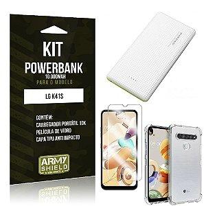 Carregador Portátil 10.000Mah LG K41s + Capinha + Película Vidro - Armyshield