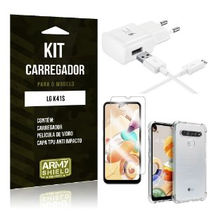 Kit Carregador LG K41s Tipo C + Capa Antishock + Película de Vidro - ArmyShield