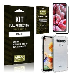 Combo Full Protection LG K41s Película de Vidro 3D + Capa Anti Impacto - Armyshield