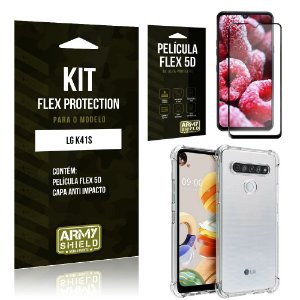 Kit Flex Protection LG K41s Capa Anti Impacto + Película Flex 5D - Armyshield