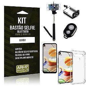 Bastão de Selfie Bluetooth LG K61 + Capinha Anti Impacto +Película Vidro - Armyshield