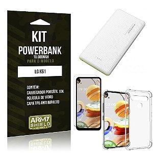 Carregador Portátil 10.000Mah LG K61 + Capinha + Película Vidro - Armyshield
