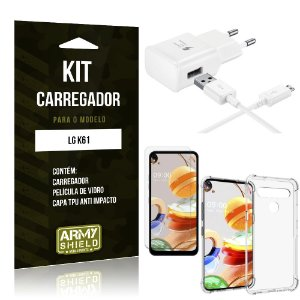 Kit Carregador LG K61 Tipo C + Capa Antishock + Película de Vidro - ArmyShield