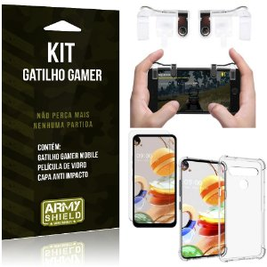 Kit Gatilho Gamer LG K61 Gatilho + Capa Anti Impacto + Película Vidro - Armyshield