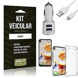 Kit Carregador Veicular Tipo C LG K61 + Película Vidro + Capa Anti - Armyshield